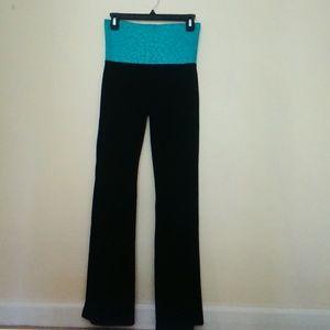 Blue Cheetah Print Wide Leg Yoga Pants